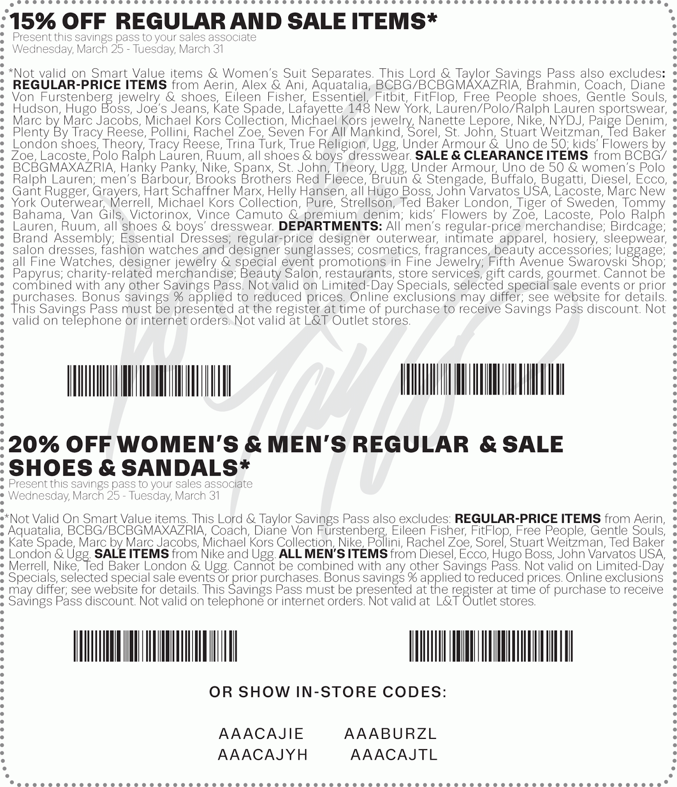 Free Printable Coupons: Lord & Taylor Coupons